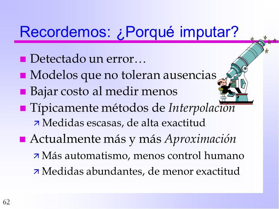 62 Recordemos: ¿Porqué imputar? n Detectado un error… n Modelos que no toleran ausencias n Bajar costo al medir menos n Típicamente métodos de Interpo