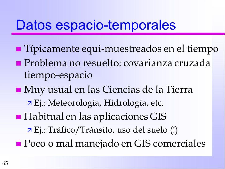 65 Datos espacio-temporales n Típicamente equi-muestreados en el tiempo n Problema no resuelto: covarianza cruzada tiempo-espacio n Muy usual en las C