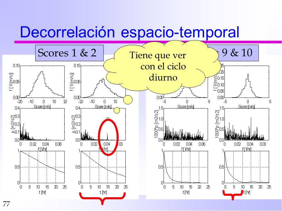 77 Decorrelación espacio-temporal Scores 1 & 2 Scores 9 & 10 Tiene que ver con el ciclo diurno