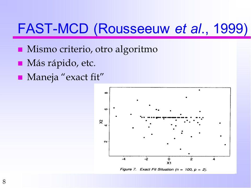 8 FAST-MCD (Rousseeuw et al., 1999) n Mismo criterio, otro algoritmo n Más rápido, etc. n Maneja exact fit