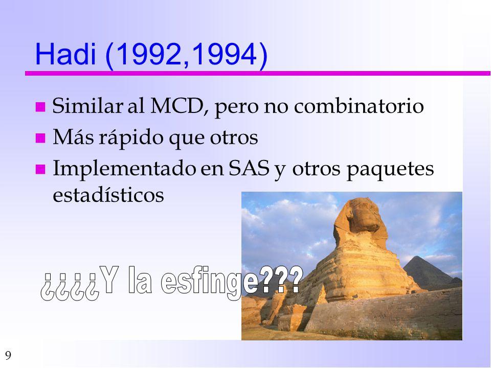 9 Hadi (1992,1994) n Similar al MCD, pero no combinatorio n Más rápido que otros n Implementado en SAS y otros paquetes estadísticos