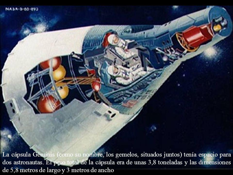 La cápsula Géminis (como su nombre, los gemelos, situados juntos) tenía espacio para dos astronautas. El peso total de la cápsula era de unas 3,8 tone
