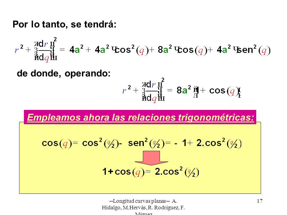 --Longitud curvas planas-- A. Hidalgo, M.Hervás, R. Rodríguez, F. Míguez 17 Por lo tanto, se tendrá: Empleamos ahora las relaciones trigonométricas: d