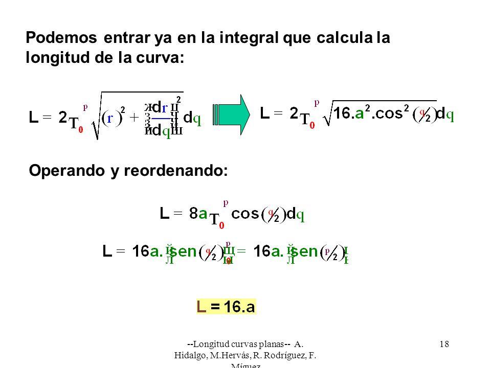 --Longitud curvas planas-- A. Hidalgo, M.Hervás, R. Rodríguez, F. Míguez 18 Podemos entrar ya en la integral que calcula la longitud de la curva: Oper