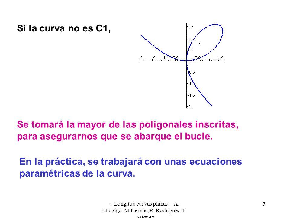 --Longitud curvas planas-- A. Hidalgo, M.Hervás, R. Rodríguez, F. Míguez 5 Si la curva no es C1, Se tomará la mayor de las poligonales inscritas, para