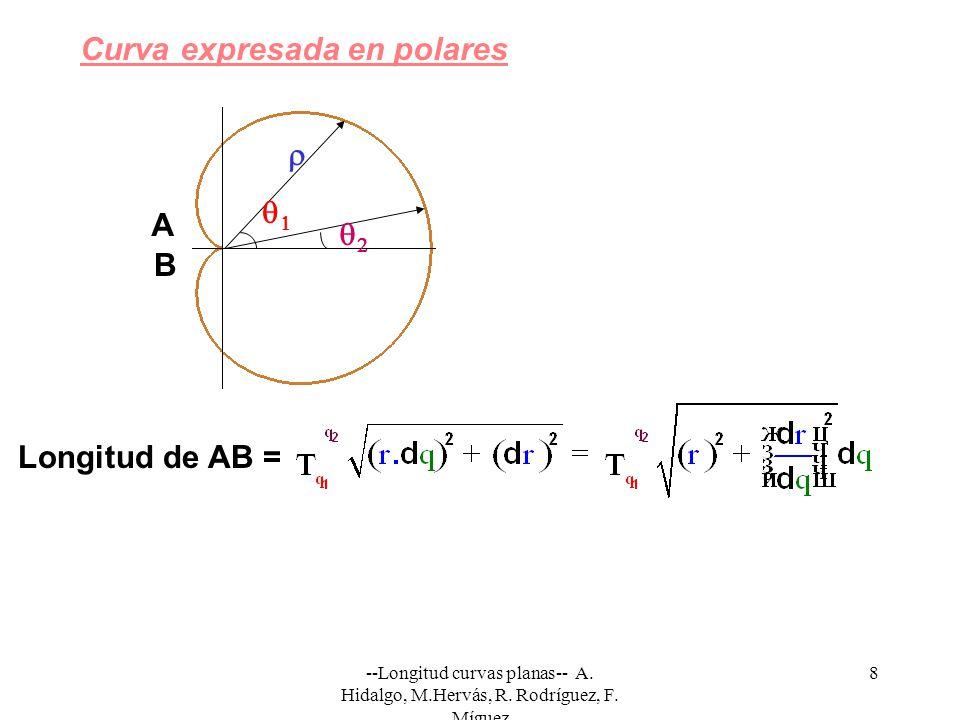 --Longitud curvas planas-- A. Hidalgo, M.Hervás, R. Rodríguez, F. Míguez 8 Curva expresada en polares Longitud de AB = A B