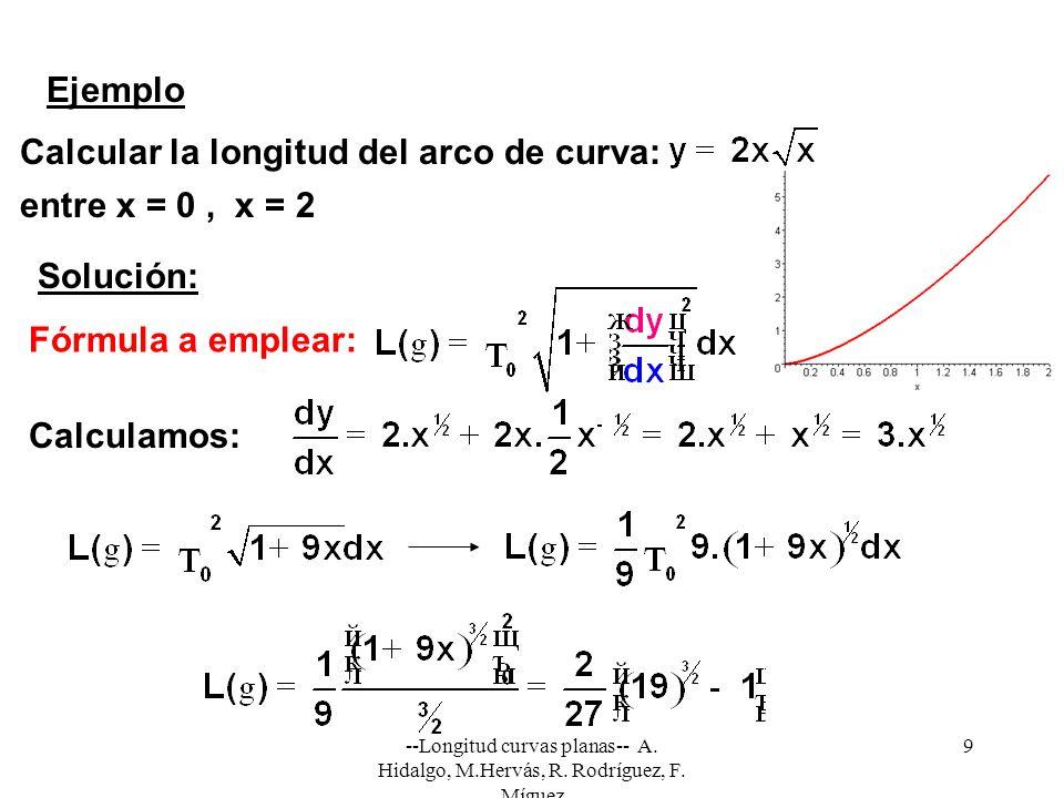 --Longitud curvas planas-- A. Hidalgo, M.Hervás, R. Rodríguez, F. Míguez 9 Ejemplo Calcular la longitud del arco de curva: entre x = 0, x = 2 Solución
