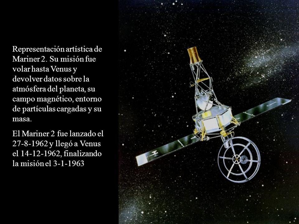Representación artística de Mariner 2. Su misión fue volar hasta Venus y devolver datos sobre la atmósfera del planeta, su campo magnético, entorno de
