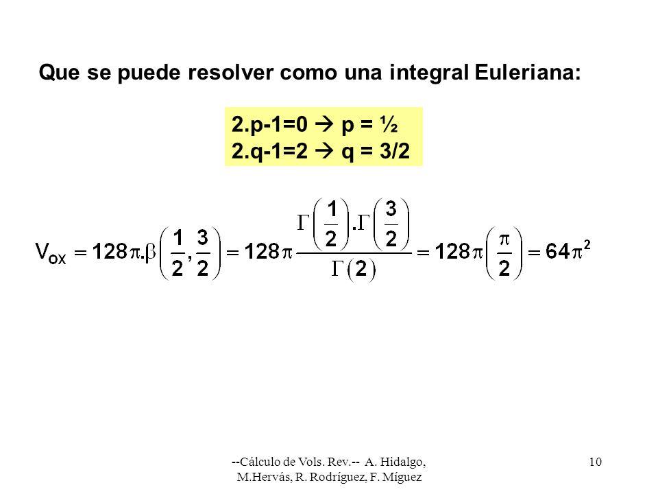 --Cálculo de Vols. Rev.-- A. Hidalgo, M.Hervás, R. Rodríguez, F. Míguez 10 Que se puede resolver como una integral Euleriana: 2.p-1=0 p = ½ 2.q-1=2 q