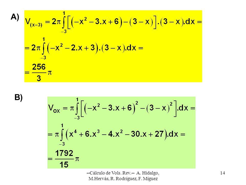 --Cálculo de Vols. Rev.-- A. Hidalgo, M.Hervás, R. Rodríguez, F. Míguez 14 B) A)