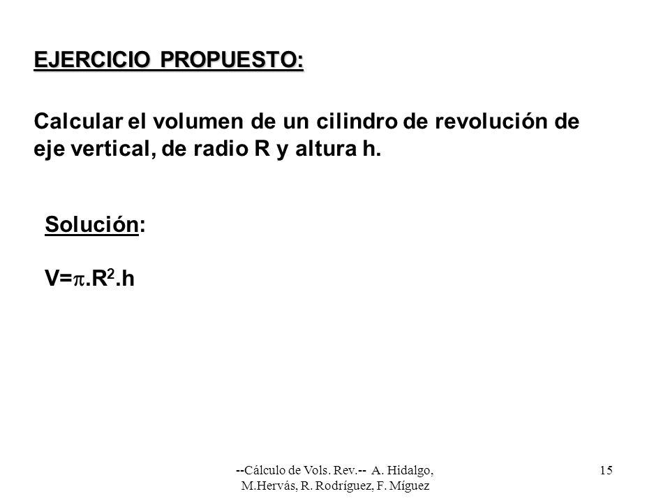 --Cálculo de Vols. Rev.-- A. Hidalgo, M.Hervás, R. Rodríguez, F. Míguez 15 EJERCICIO PROPUESTO: Calcular el volumen de un cilindro de revolución de ej