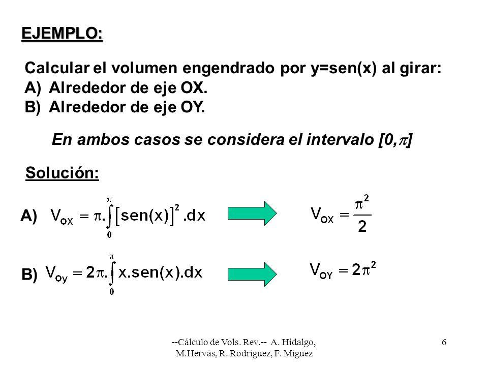 --Cálculo de Vols. Rev.-- A. Hidalgo, M.Hervás, R. Rodríguez, F. Míguez 6 EJEMPLO: Calcular el volumen engendrado por y=sen(x) al girar: A)Alrededor d