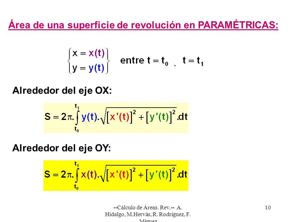 --Cálculo de Áreas. Rev.-- A. Hidalgo, M.Hervás, R. Rodríguez, F. Míguez 10 Área de una superficie de revolución en PARAMÉTRICAS: Alrededor del eje OX