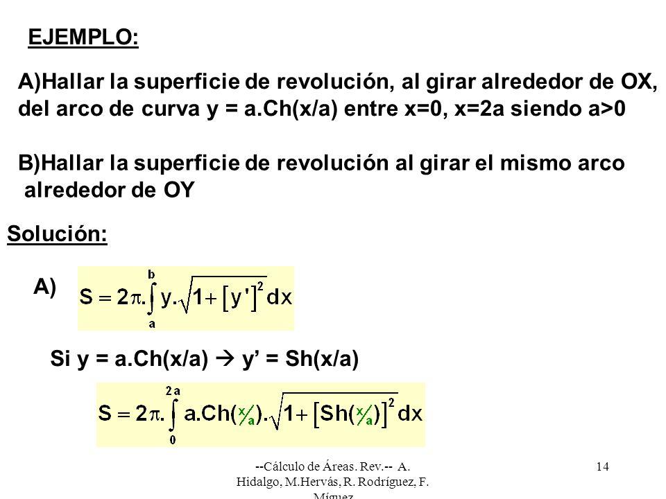 --Cálculo de Áreas. Rev.-- A. Hidalgo, M.Hervás, R. Rodríguez, F. Míguez 14 EJEMPLO: A)Hallar la superficie de revolución, al girar alrededor de OX, d