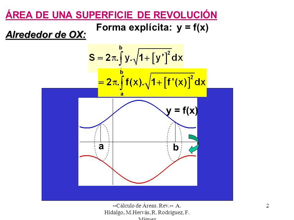 --Cálculo de Áreas. Rev.-- A. Hidalgo, M.Hervás, R. Rodríguez, F. Míguez 2 ÁREA DE UNA SUPERFICIE DE REVOLUCIÓN Forma explícita: y = f(x) a b y = f(x)
