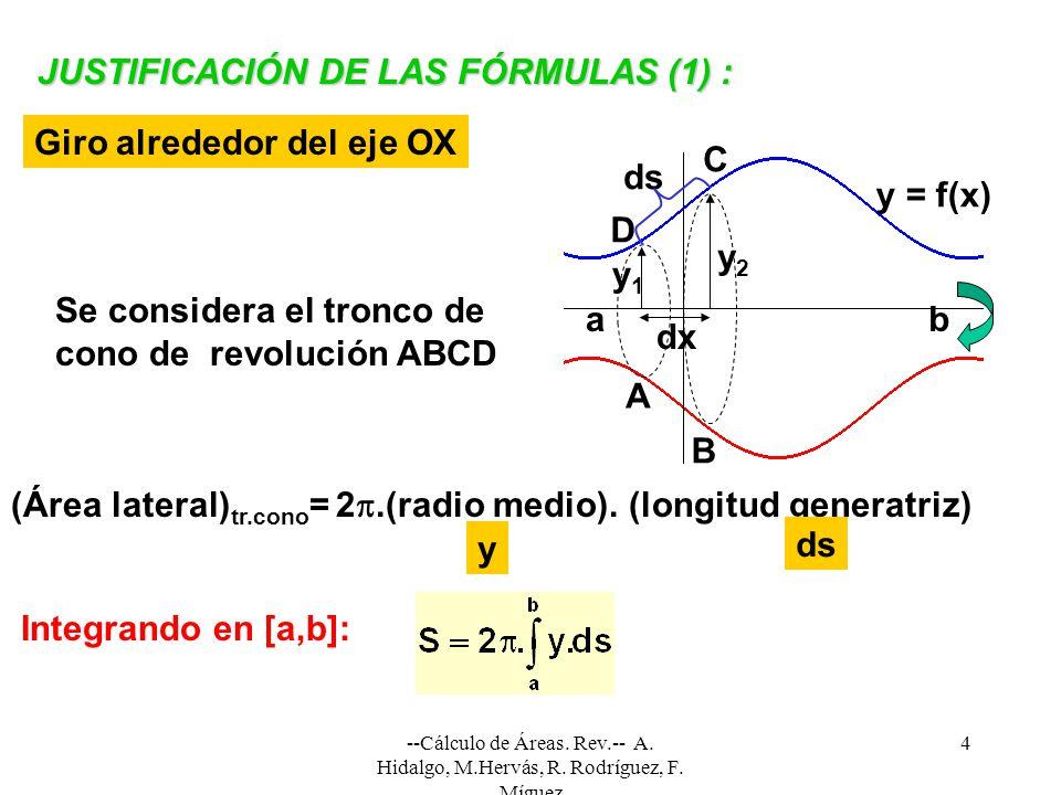 --Cálculo de Áreas. Rev.-- A. Hidalgo, M.Hervás, R. Rodríguez, F. Míguez 4 JUSTIFICACIÓN DE LAS FÓRMULAS (1) : Giro alrededor del eje OX Se considera