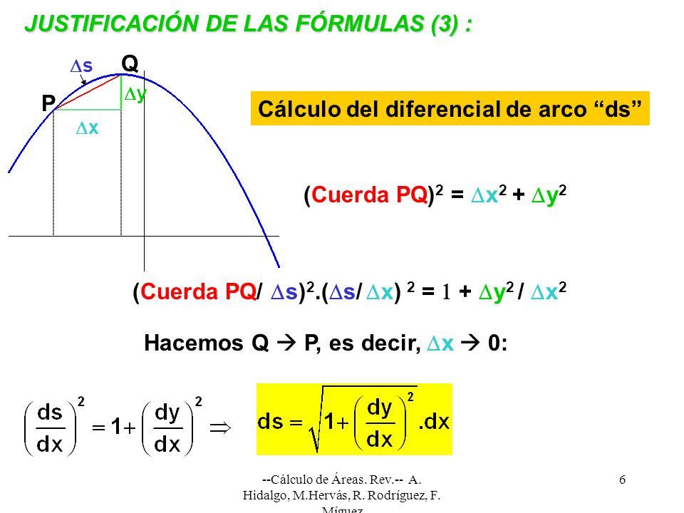 --Cálculo de Áreas. Rev.-- A. Hidalgo, M.Hervás, R. Rodríguez, F. Míguez 6 x y s P Q (Cuerda PQ) 2 = x 2 + y 2 (Cuerda PQ/ s) 2.( s/ x) 2 = + y 2 / x