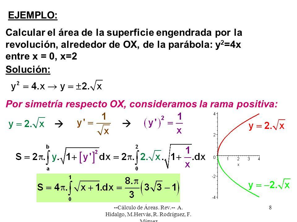 --Cálculo de Áreas. Rev.-- A. Hidalgo, M.Hervás, R. Rodríguez, F. Míguez 8 EJEMPLO: Calcular el área de la superficie engendrada por la revolución, al