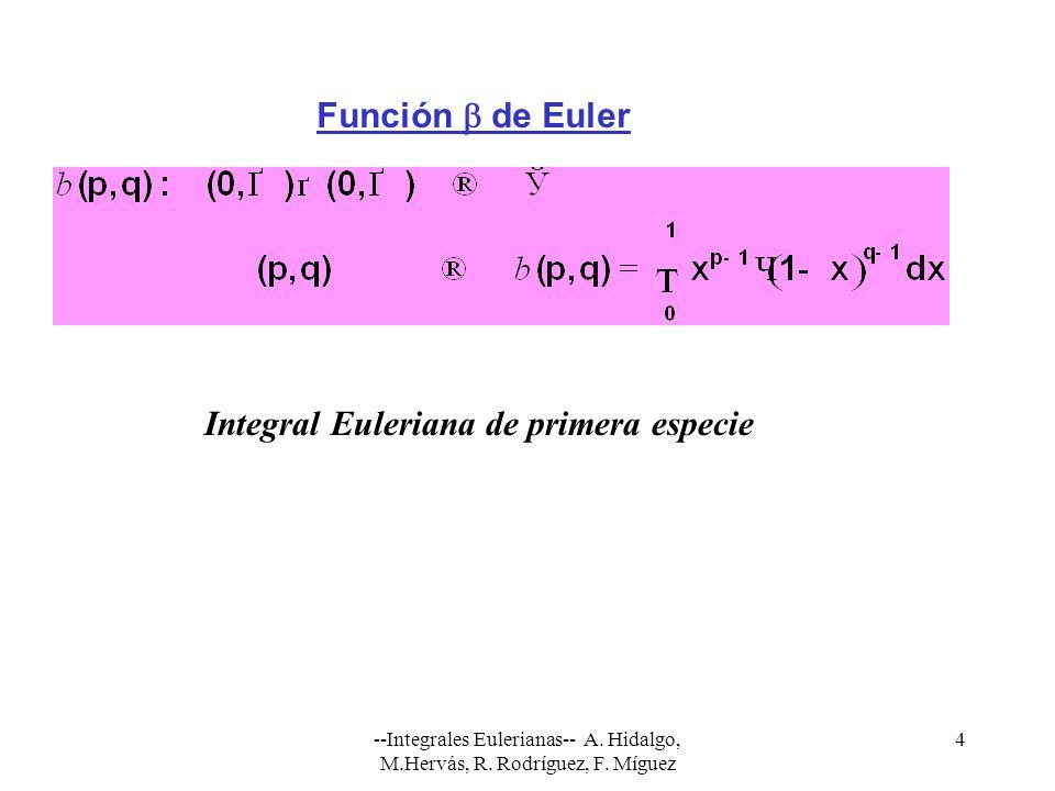 --Integrales Eulerianas-- A. Hidalgo, M.Hervás, R. Rodríguez, F. Míguez 4 Función de Euler Integral Euleriana de primera especie