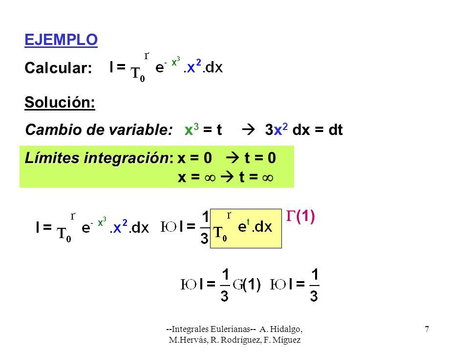 --Integrales Eulerianas-- A. Hidalgo, M.Hervás, R. Rodríguez, F. Míguez 7 EJEMPLO Calcular: Solución: Cambio de variable:x 3 = t 3x 2 dx = dt Límites