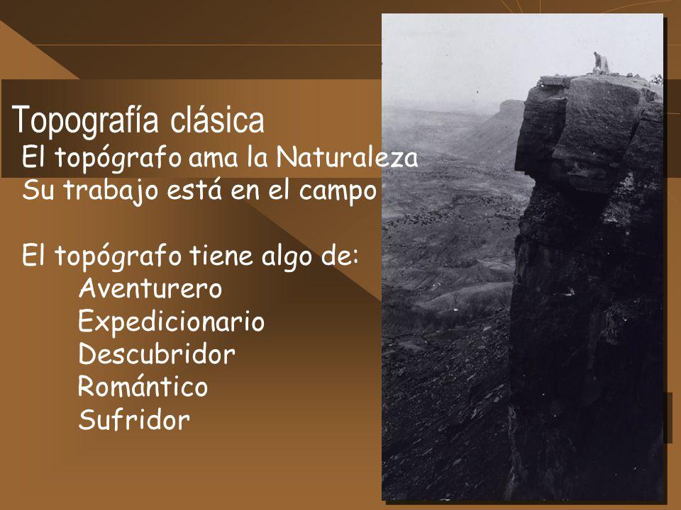 El topógrafo ama la Naturaleza Su trabajo está en el campo El topógrafo tiene algo de: Aventurero Expedicionario Descubridor Romántico Sufridor Topogr