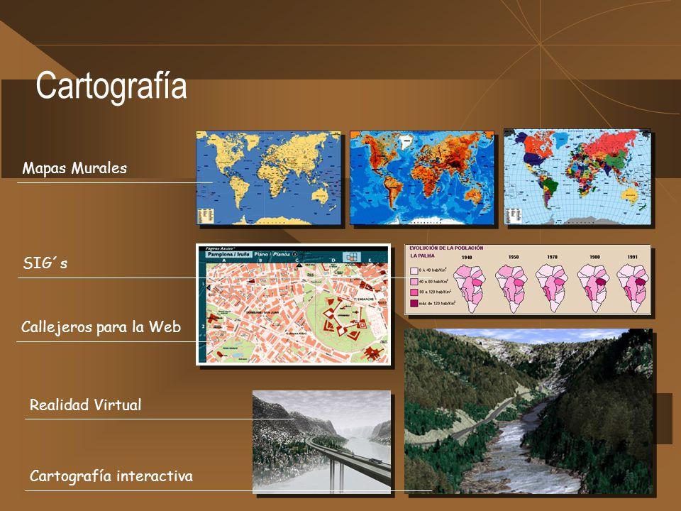 Cartografía Mapas Murales SIG´s Callejeros para la Web Realidad Virtual Cartografía interactiva