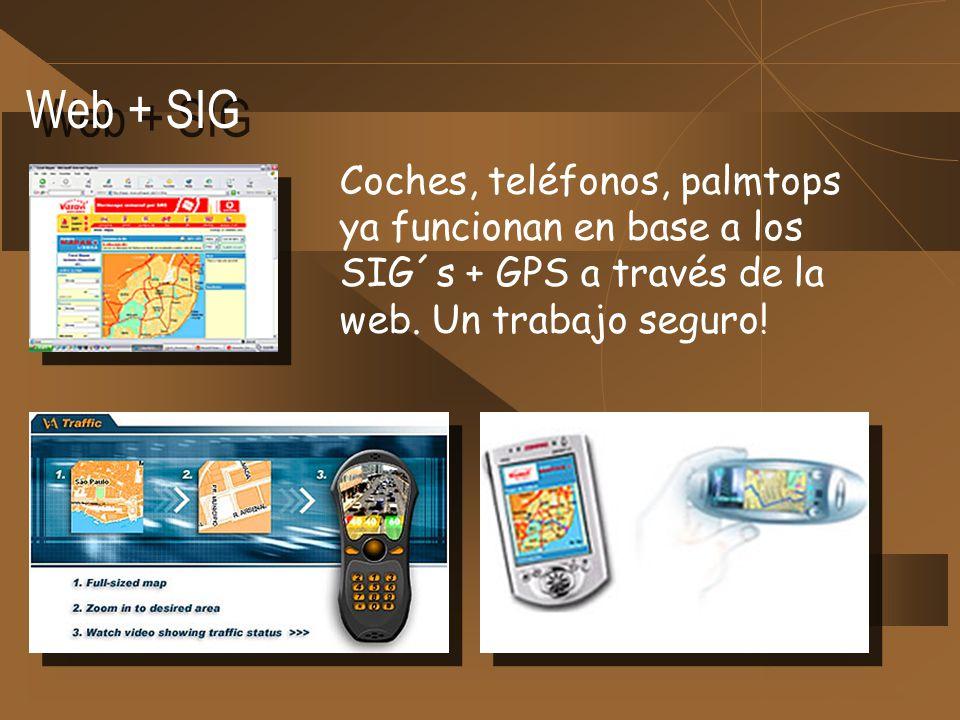 Web + SIG Coches, teléfonos, palmtops ya funcionan en base a los SIG´s + GPS a través de la web. Un trabajo seguro!