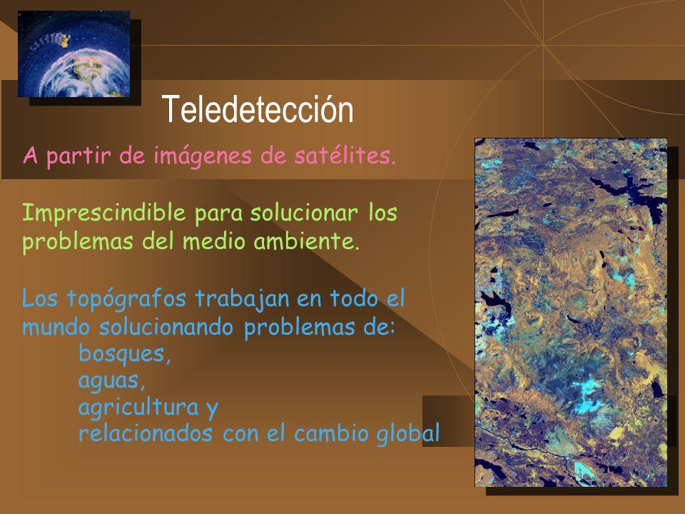 Teledetección A partir de imágenes de satélites. Imprescindible para solucionar los problemas del medio ambiente. Los topógrafos trabajan en todo el m