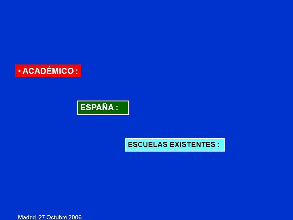 Madrid, 27 Octubre 2006 ACADÉMICO : ESPAÑA : ESCUELAS EXISTENTES :