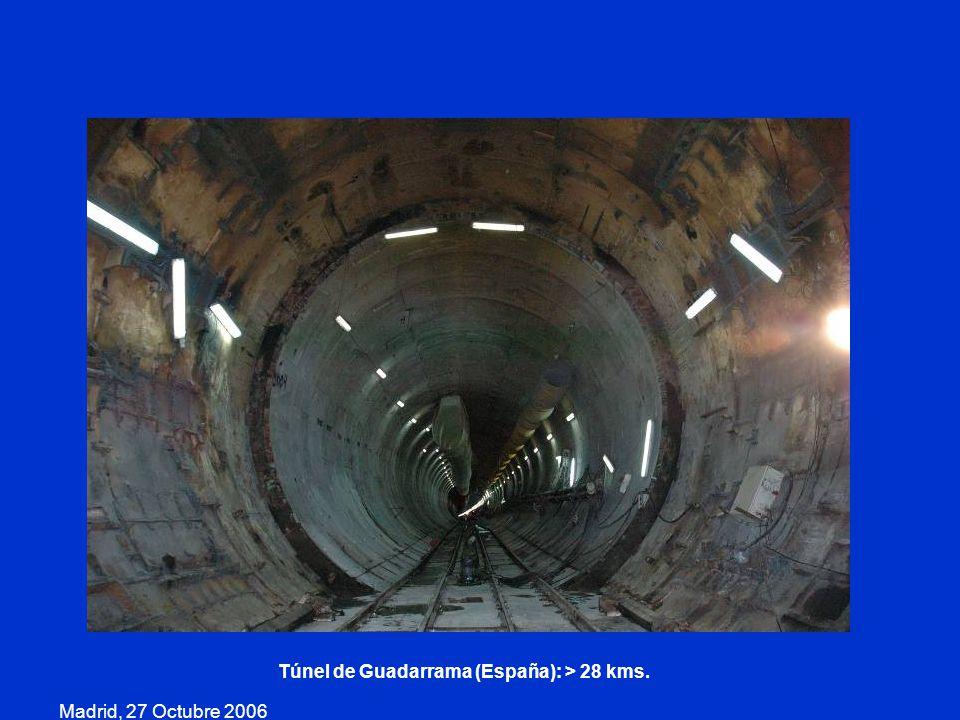 Madrid, 27 Octubre 2006 Túnel de Guadarrama (España): > 28 kms.