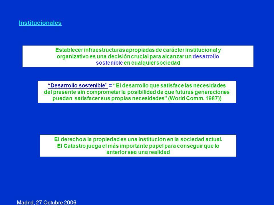 Madrid, 27 Octubre 2006 Institucionales Establecer infraestructuras apropiadas de carácter institucional y organizativo es una decisión crucial para a