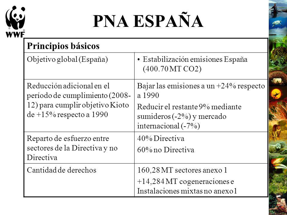 PNA ESPAÑA Principios básicos Objetivo global (España)Estabilización emisiones España (400.70 MT CO2) Reducción adicional en el período de cumplimient