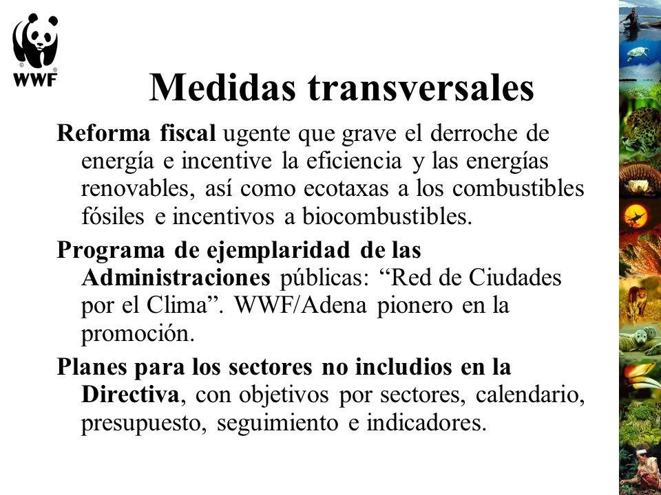 Medidas transversales Reforma fiscal ugente que grave el derroche de energía e incentive la eficiencia y las energías renovables, así como ecotaxas a