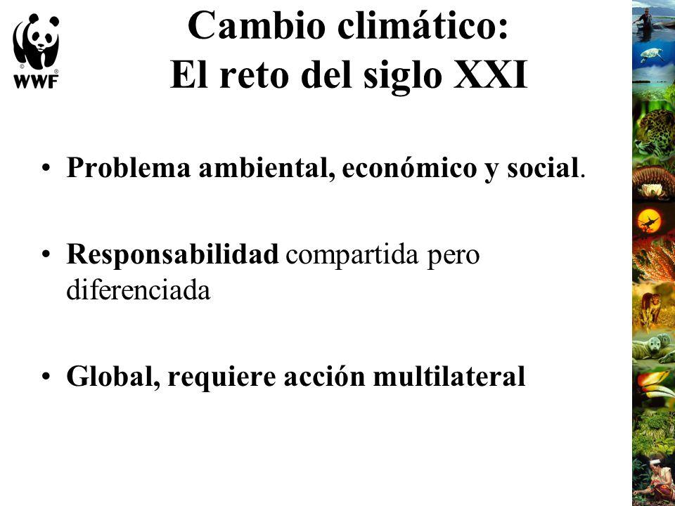 Cambio climático: El reto del siglo XXI Problema ambiental, económico y social. Responsabilidad compartida pero diferenciada Global, requiere acción m