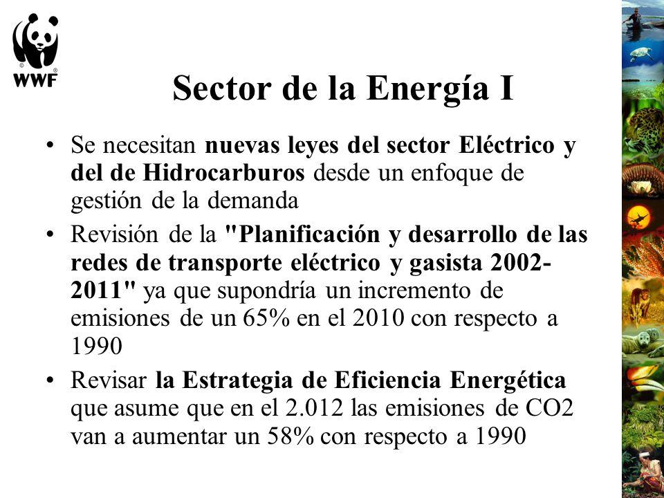 Sector de la Energía I Se necesitan nuevas leyes del sector Eléctrico y del de Hidrocarburos desde un enfoque de gestión de la demanda Revisión de la