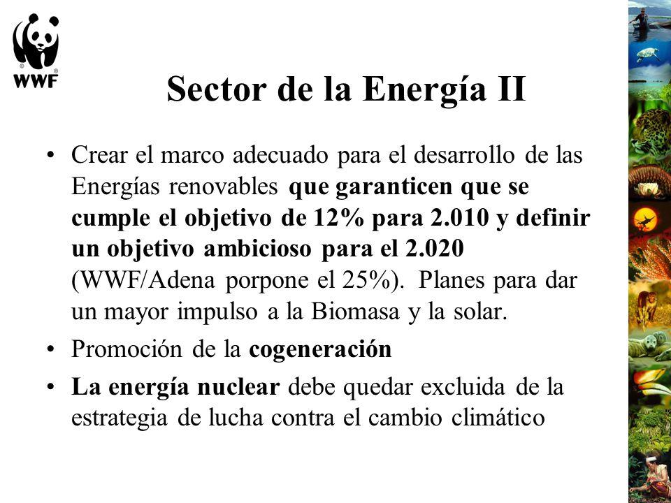 Sector de la Energía II Crear el marco adecuado para el desarrollo de las Energías renovables que garanticen que se cumple el objetivo de 12% para 2.0