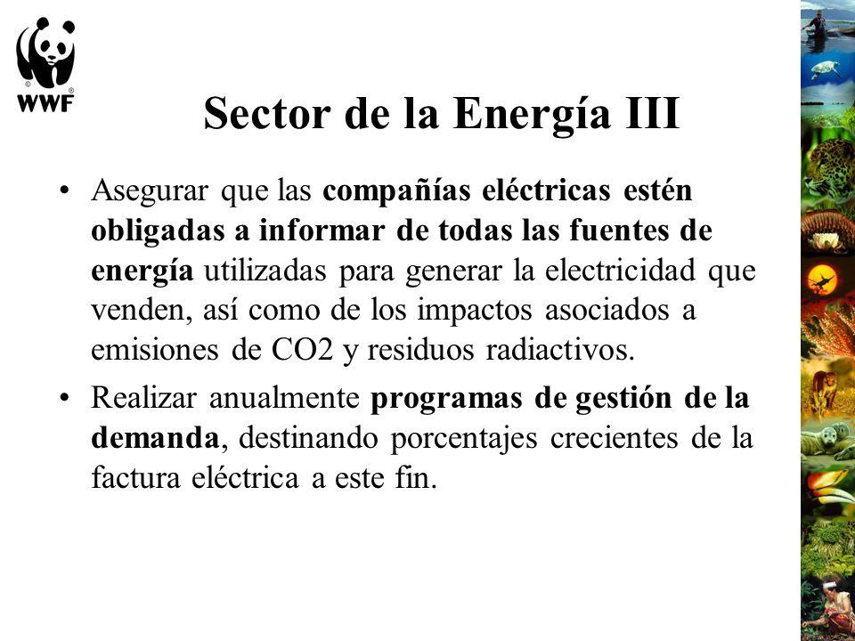 Sector de la Energía III Asegurar que las compañías eléctricas estén obligadas a informar de todas las fuentes de energía utilizadas para generar la e