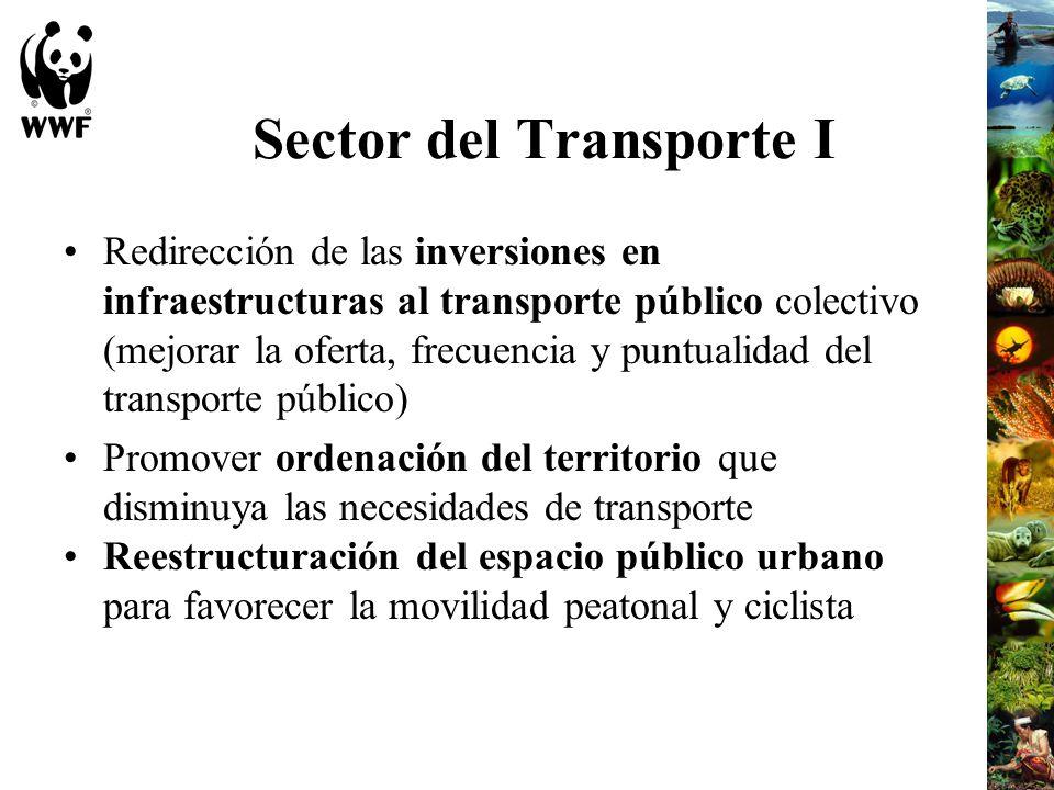 Sector del Transporte I Redirección de las inversiones en infraestructuras al transporte público colectivo (mejorar la oferta, frecuencia y puntualida