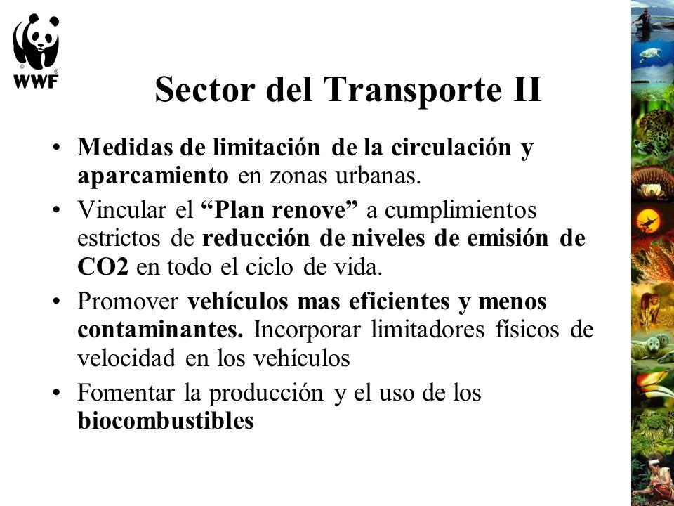 Sector del Transporte II Medidas de limitación de la circulación y aparcamiento en zonas urbanas. Vincular el Plan renove a cumplimientos estrictos de