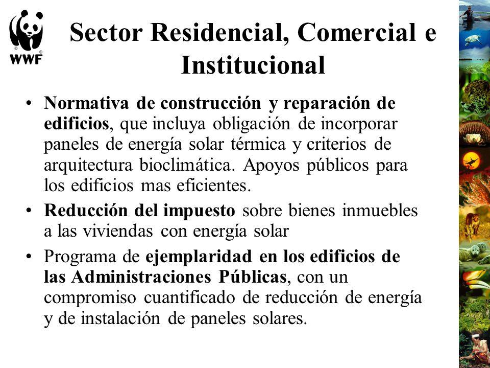 Sector Residencial, Comercial e Institucional Normativa de construcción y reparación de edificios, que incluya obligación de incorporar paneles de ene