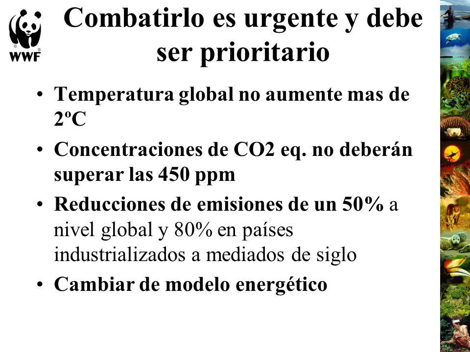 Combatirlo es urgente y debe ser prioritario Temperatura global no aumente mas de 2ºC Concentraciones de CO2 eq. no deberán superar las 450 ppm Reducc
