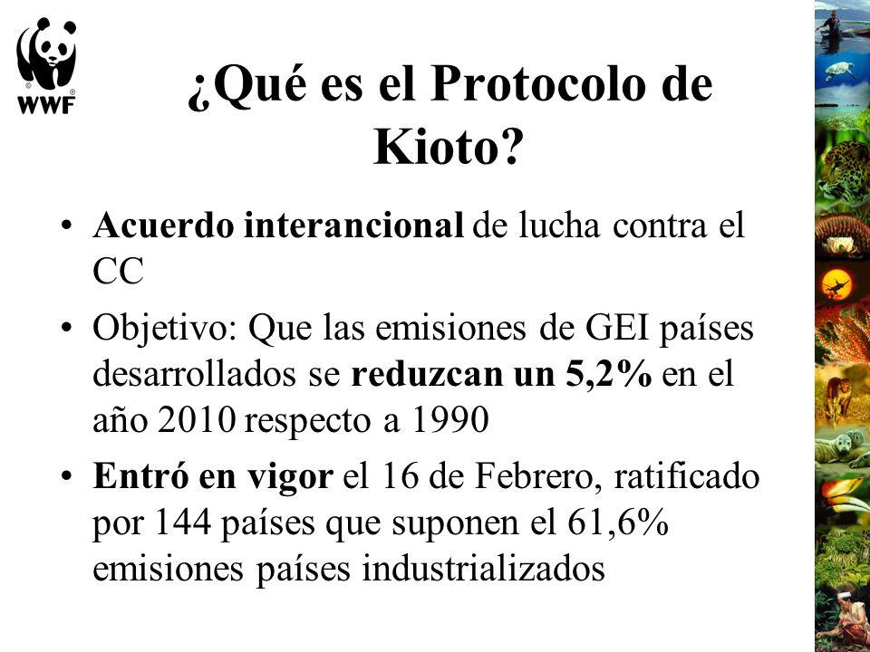 ¿Qué es el Protocolo de Kioto? Acuerdo interancional de lucha contra el CC Objetivo: Que las emisiones de GEI países desarrollados se reduzcan un 5,2%