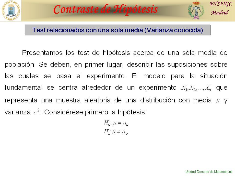 Contraste de Hipótesis ETSITGC Madrid Unidad Docente de Matemáticas Test relacionados con una sola media (Varianza conocida)