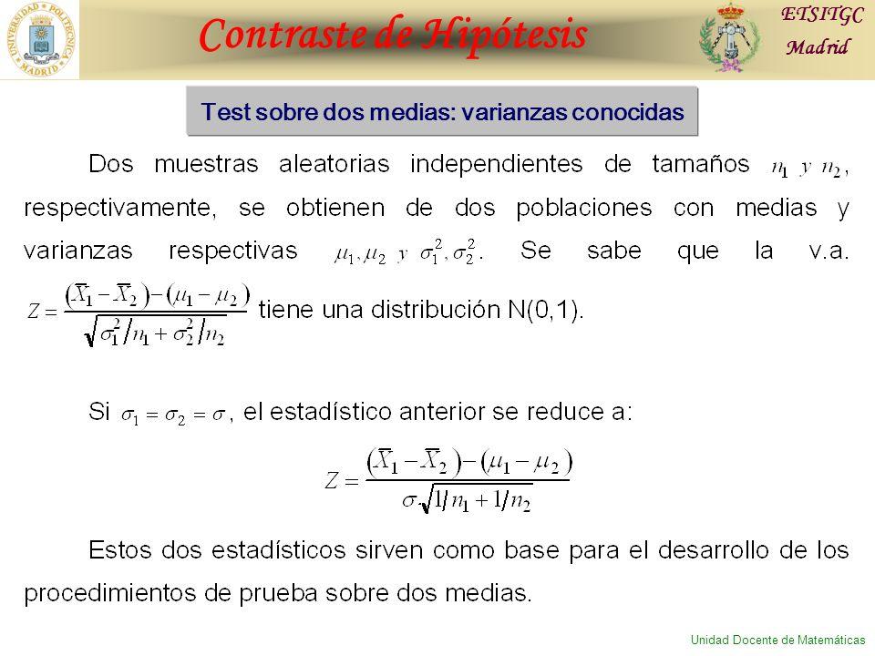 Contraste de Hipótesis ETSITGC Madrid Unidad Docente de Matemáticas Test sobre dos medias: varianzas conocidas