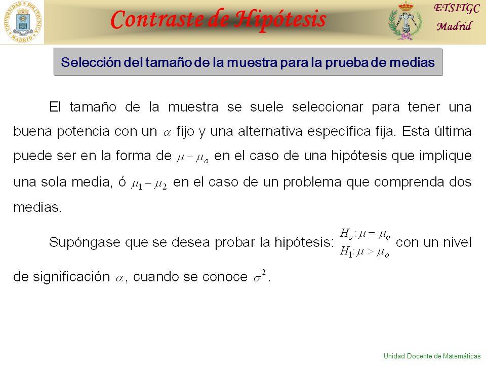 Contraste de Hipótesis ETSITGC Madrid Unidad Docente de Matemáticas Selección del tamaño de la muestra para la prueba de medias