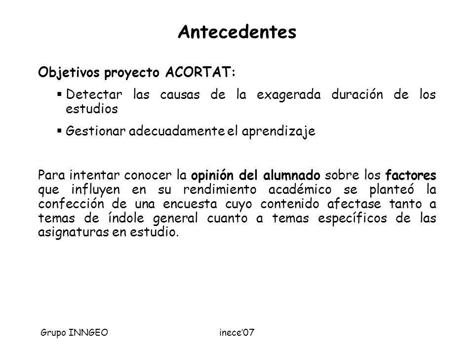 Grupo INNGEOinece07 Antecedentes Objetivos proyecto ACORTAT: Detectar las causas de la exagerada duración de los estudios Gestionar adecuadamente el a