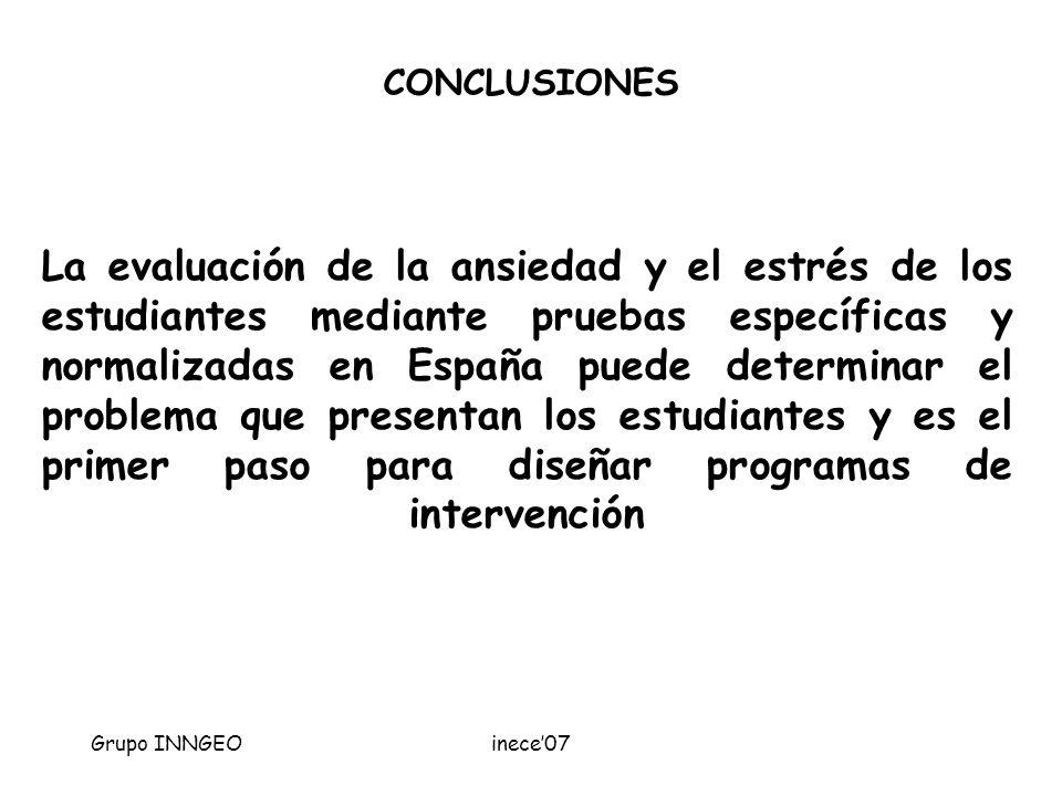 Grupo INNGEOinece07 La evaluación de la ansiedad y el estrés de los estudiantes mediante pruebas específicas y normalizadas en España puede determinar