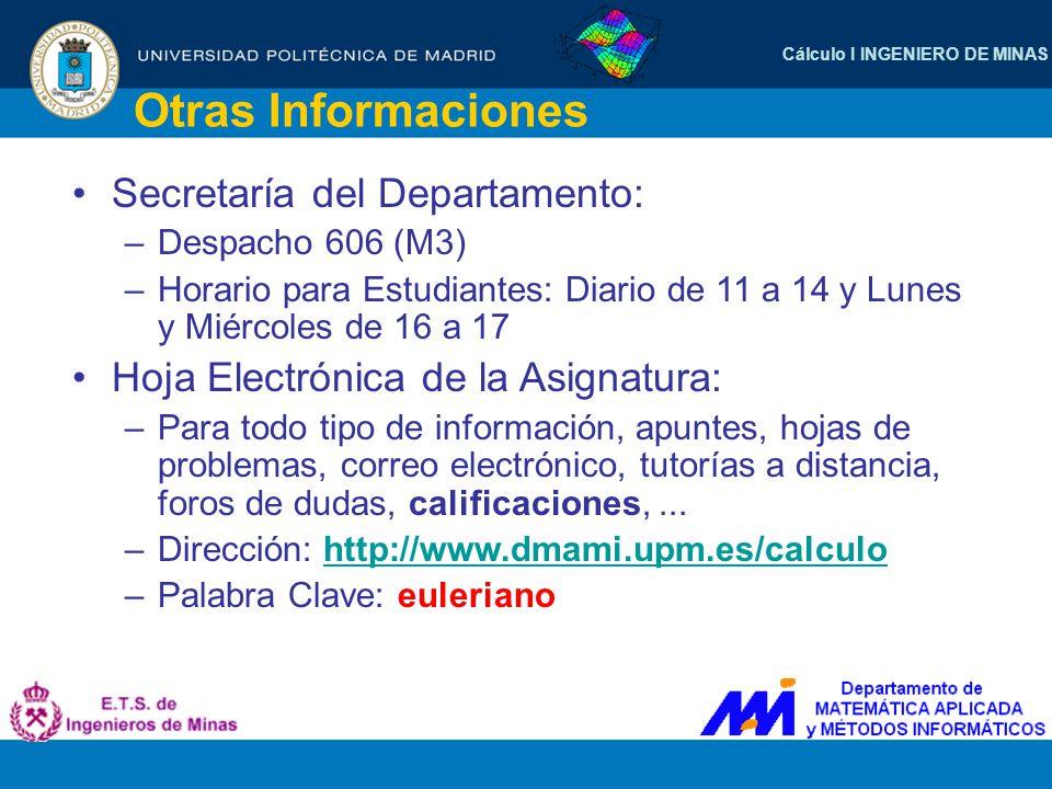 Cálculo I INGENIERO DE MINAS Otras Informaciones Secretaría del Departamento: –Despacho 606 (M3) –Horario para Estudiantes: Diario de 11 a 14 y Lunes