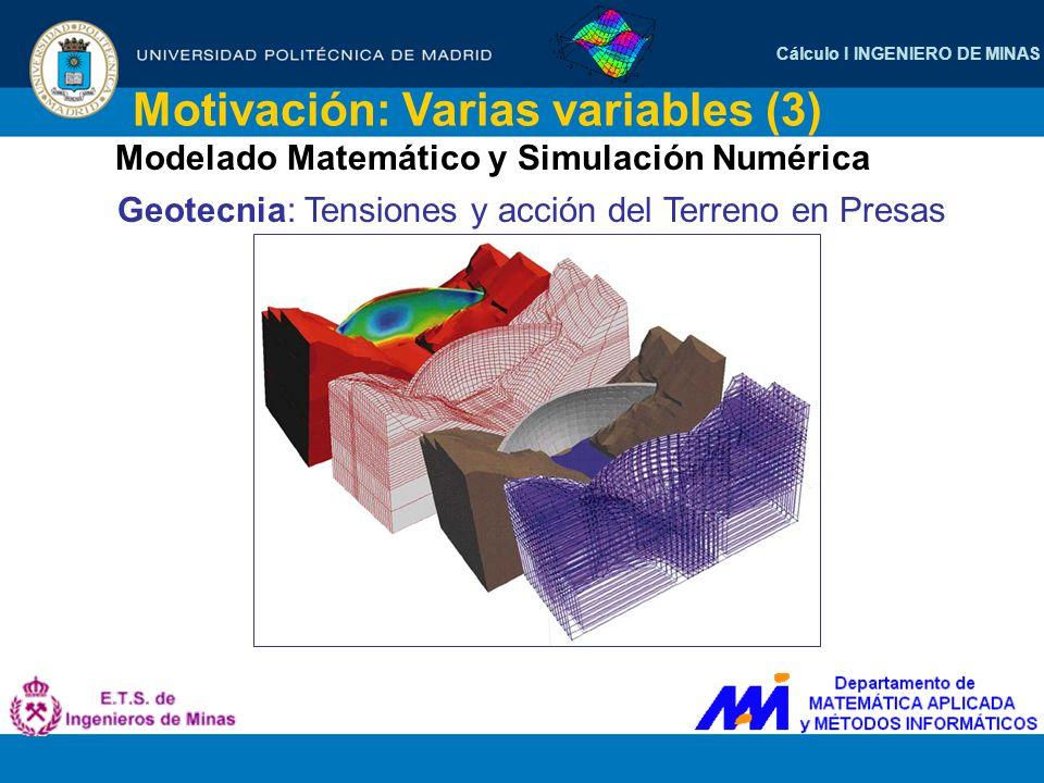 Cálculo I INGENIERO DE MINAS Motivación: Varias variables (3) Modelado Matemático y Simulación Numérica Geotecnia: Tensiones y acción del Terreno en P