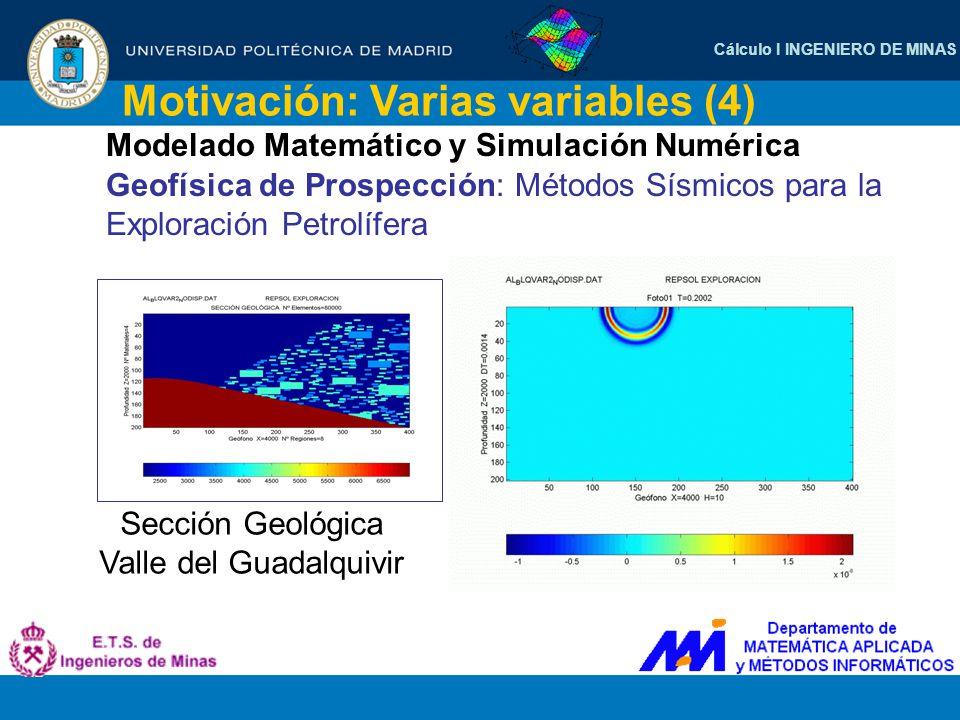 Cálculo I INGENIERO DE MINAS Motivación: Varias variables (4) Modelado Matemático y Simulación Numérica Geofísica de Prospección: Métodos Sísmicos par